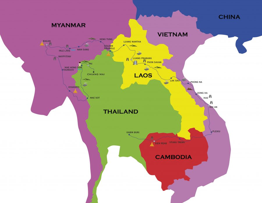 Map of Motorcycle Tour to Thailand, Myanmar, Cambodia, Laos and Vietnam